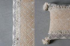 Perch & Parrow | Sansa Tasseled Cushion in Mustard & Grey