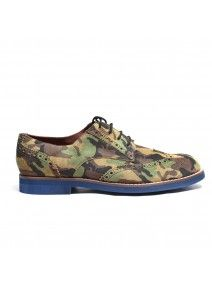 Women's Camo Suede Wingtip with Black Laces. Navy Micro Featherweight Sole. Leather Lining. Handmade in Italy.