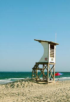 Lifeguard station at Wrightsville Beach, North Carolina. We love to sit up there when the lifeguards are off duty! : )