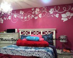 Mädchen Wand Aufkleber Blume Wandtattoo Schmetterlinge Aufkleber Kinderzimmer Wand Aufkleber Büro Wand Aufkleber Kinder Wand Aufkleber-weiße Blume mit Schmetterlingen