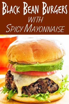 These black bean veggie burgers get a kick from spicy mayo! They hold up well when cooked in a skillet and make a hearty, meat-free meal any night of the week. Great as a make-ahead dish, too! #blackbeans #veggieburgers #burger #simplyrecipes