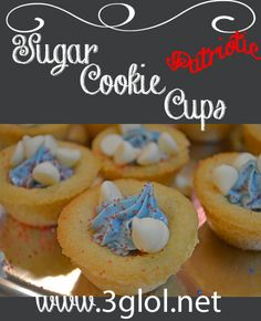 Sugar Cookie Cups. Simple easy, using store bought dough and frosting, you can have these made in a jiffy! http://www.3glol.net
