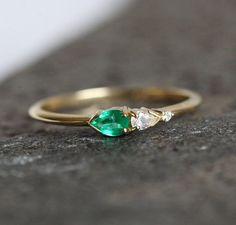 Emerald And Diamond Ring Diamond Emerald Ring Cluster by MinimalVS