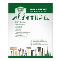 Handyman and home maintenance servise flyer | Zazzle.com Grass Background, Roof Repair, Yard Landscaping, Carpentry, Plumbing, How To Remove, Ads, Home, Green