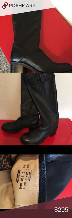 New Free Lance boots size 9 Gorgeous well made boots  Biker Geronimo freelance boots $598 retail  Made in European Union  £532 2 5/8 heel  18.5 from heel to top of boot Black leather  Size 40 - 9 Shoes Heeled Boots