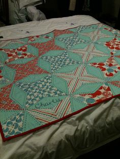 Lovethe quilt & the quilting -- especially the primitive 2-color quilting