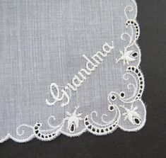 Grandmother Bridal Handkerchief - White Embroidered Grandma Hanky in Original Box - Poem To My Grandmother - Wedding Bridal Shower - Gift