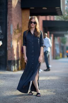 Shirt dress and leather sandals.