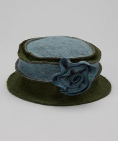 dae380c5f71 Blue   Olive Marbled Rosette Wool Bucket Hat