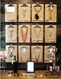 Use clipboards to display necklaces