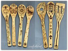 wood burning bamboo spoons by Regina Lord (creative kismet)
