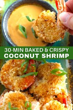 Crunchy and utterly irresistible, this 30-Minute Baked Coconut Shrimp recipe is one you've got to try! Dip them into the Sriracha Mayonnaise and they are heavenly. Great dinner or appetizer. These are also baked, not fried, so they are EASY and HEALTHIER for you! #glutenfree #shrimp #easydinners #healthy #healthyrecipes #healthydinners #healthyappetizers #appetizers Baked Coconut Shrimp, Coconut Shrimp Recipes, Healthy Appetizers, Healthy Recipes, Keto Recipes, Incredible Recipes, Healthy Comfort Food, How To Cook Shrimp, Delicious Dinner Recipes