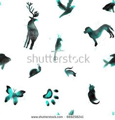 Seamless pattern, watercolor animals, fish, hare, parrot, snail, cat, bird, butterfly, rat, dog, deer on white background - Shutterstock Premier