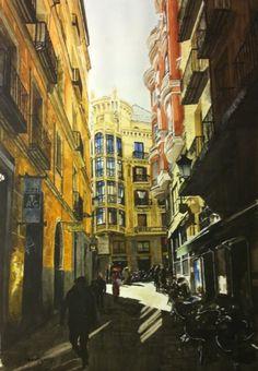 desde San Ginés a la calle Mayor, Madrid | Pintura de Pedro Higueras | Flecha