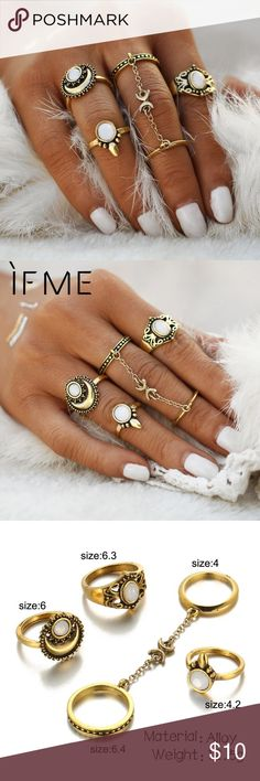 Ethnic Turkish Moon Sun Finger Rings Set Ethnic Turkish Moon Sun Finger Rings Set Natural Opal Stone Link Chains Midi Rings Set. Please see images for the assortment of ring sizes Jewelry Rings