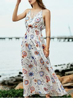 Floral Print Beach Maxi Dress - WHITE S