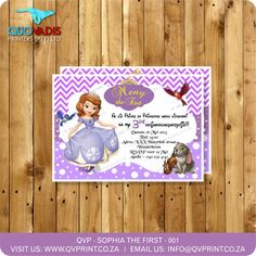 Sophia the First invitation - Purple Birthday Invitation - printable Invite. This listing is for a x invitation (your choice of a printable file or printed and shipped) customized with your event details. Purple Birthday, Printable Birthday Invitations, Corporate Gifts, Invite, Printed, Wedding, Valentines Day Weddings, Promotional Giveaways, Prints