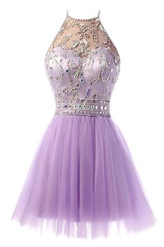 Amazon.com: Ellames Short Tulle Beaded Homecoming Dress Halter Prom Gowns…