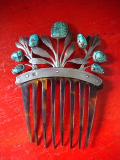 Antique Silver Spiderweb Turquoise Abstract Design Tortoiseshell Haircomb Hairpin Hairslide by skinnybitchvintage on Etsy https://www.etsy.com/listing/172219493/antique-silver-spiderweb-turquoise
