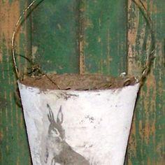 Primitive Easter Basket - Shabby Easter Basket - Vintage Rabbit - Cottage Decor - Mixed Media Easter - Peat Pot Basket - Handmade