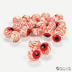 Bloodshot Eyeball Lampwork Beads - 12mm