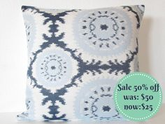 SALE - 50% off - pillow cover 20X20 blue off white suzani pillow cover