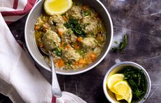 This colorful one-pot meatballs and rice soup comes together in a snap and is loaded with vegetables, fragrant herbs and spices. Feel free to substitute ground turkey for the ground beef for a lean...