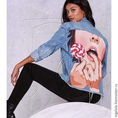 Купить Джинсовая куртка. Футболка роспись. - комбинированный, рисунок, роспись, футболка с росписью, футболка с принтом