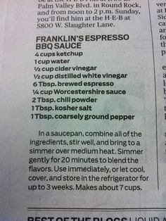 Bon Appetit named Franklin BBQ the best in America. This is one of their sauce… Barbecue Sauce Recipes, Barbeque Sauce, Smoker Recipes, Old Recipes, Vintage Recipes, Grilling Recipes, Cooking Recipes, Bbq Sauces, Barbecue Chicken