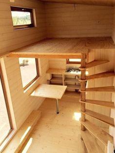 Tiny House Stairs, Tiny House Loft, Loft Stairs, Tiny House Living, Tiny House Plans, Tiny House Design, Loft Design, Design Design, Tiny House Storage