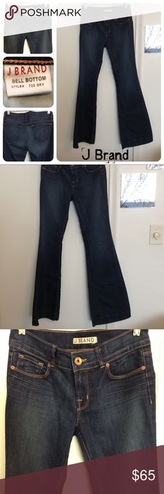 """J Brand Bell Bottom Dark Wash Jeans These J Brand Bell Bottom Dark Vintage Jeans are practically Brand new the don't look they they have ever been worn. These soft stretch jeans have a bell bottom cut. Classic 5 pocket design and faded dark vintage wash.  72% cotton 28% elasterell   Size 28 with a 8"""" rise and a 34"""" inseam  💎Offers always welcomed J Brand Jeans Flare & Wide Leg"""