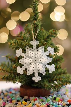 Perler Bead Ornaments - As much as I truly hate these beads....the kids would love this!!