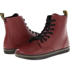 Dr. Martens Leyton 7-Eye Boot (Cherry Red) Women's Lace-up Boots ($80) ❤ liked on Polyvore featuring shoes, boots, mid-calf boots, dr. martens, laced shoes, lacing boots, slip resistant shoes and lace up shoes