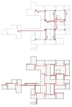 Analysis of the plan of Venice Hospital by Le Corbusier showing circulation paths