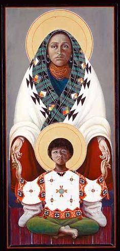 Father John Giulian- Hopi Madonna. Father explains his art- As a Catholic priest and son of Italian immigrants I bear the religious and ethnic burden of ancestral crimes perpetrated on the first inhabitants of the Americas. Many have been converted to Christianity, but in doing so some find it difficult to retain their indigenous culture.