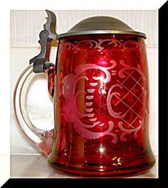 35% ReDuCED ♥ Not for too long! Come catch me!  Crystal cut Beer Stein Gold Ruby overlay German free blown Crystal Tin Lid Handl