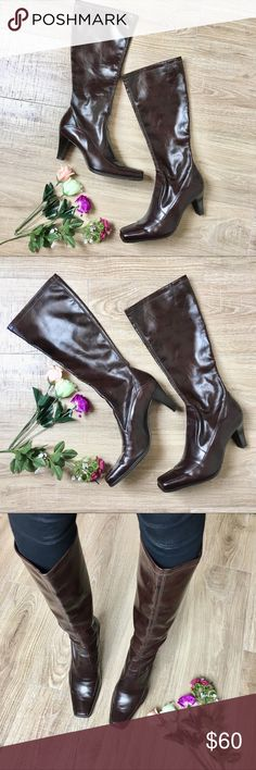 """Franco Sarto Square Toe Pull On Knee High Boots Beautiful chocolate brown color heeled boots. Square toe box. Slip on, no zipper. Heel height: 3.25"""" calf width: 6.5"""" slightly narrow calf. Length from top to bottom including heel: 17.5"""" all man made. Made in Brazil. excellent used condition. Some visible wear on the heel as seen in pictures. This is great for people with big feet but skinny calves! Franco Sarto Shoes Heeled Boots"""