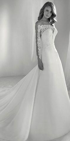768a4ca8504  158.00  Gorgeous Tulle   Organza Bateau Neckline A-line Wedding Dress With  Lace Appliques