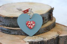Hand made hanging heart decoration. Wooden heart with decoration in the middle. Selevction of designs available. (P&P not incl) Hanging Hearts, Heart Decorations, Hessian, Wooden Hearts, Beautiful Hands, Decorating Your Home, Shabby Chic, Middle, Shop