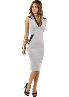 Vesper Petra Satin Contrast Grey Pencil Dress £59.00