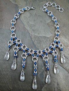 Chainmaille collar  azul y plata  Byzantine de la armadura