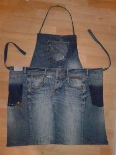 Jeansrecycling #3 robuste Kochschürze mit Taschen aus einer alten Herrenjeans by Debi Gray