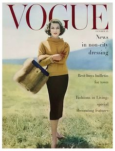 Retro Fashion Vogue Cover - October 1956 Poster Print by Karen Radkai at the Condé Nast Collection - Vogue Magazine Cover Featuring Model Va Taylor by Karen Radkai Vogue Vintage, Vintage Vogue Covers, Moda Vintage, Vintage Mode, Vintage Style, Vintage Fur, Vintage Bags, Vogue Magazine Covers, Fashion Magazine Cover