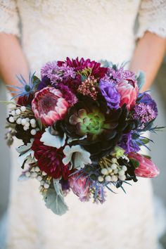 Winter wedding jewel tone bouquet | Photography by Taylor Lord Photography