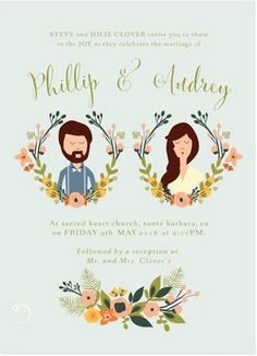 The Most Gorgeous Watercolor Wedding Invitations //  French Meadows Custom Illustration Wedding Invitation. To end off our selection we leave the best for last – how about a totally cute custom illustration of yourself and your partner created by the folks at Heart and Fox!