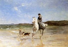 A Girl on a Grey Horse Cantering with Two Dogs by Heywood Hardy