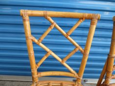 Pair Chinese Chippendale Chairs Bamboo 2 Hollywood Regency Rattan Fretwork MCM #midcenturymodernreproduction #HollywoodRegency