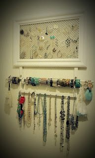 Jewlery Organizer. I like the combo of the earring frame and coat hanger turned necklace hanger. Also, neat idea for braclets