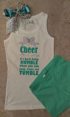 Mint, White, Glitter Cheer Outfit Practice Fear the Bow