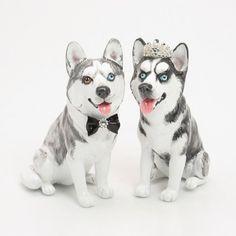 Siberian Husky Dog Wedding Cake Topper Handmade Figurine Pet Lover